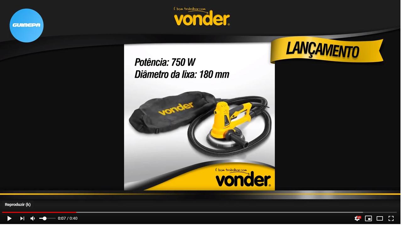 Lixadeira de parede com led 750 wats lpv750 - Vonder - GUIMEPA